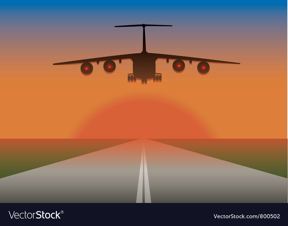 An airplane landing vector | Price: 1 Credit (USD $1)