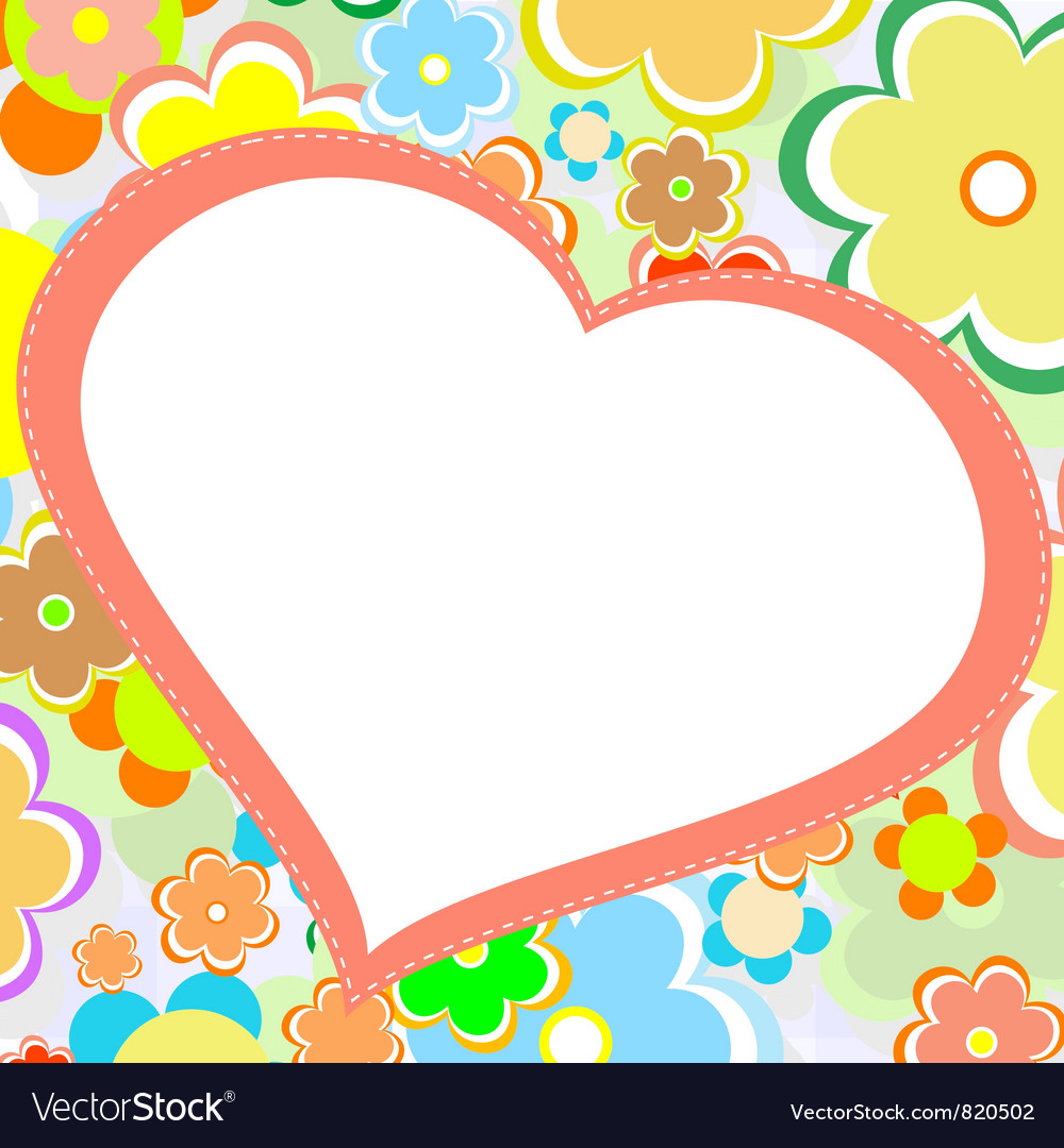 Beautiful bright flower heart card vector | Price: 1 Credit (USD $1)