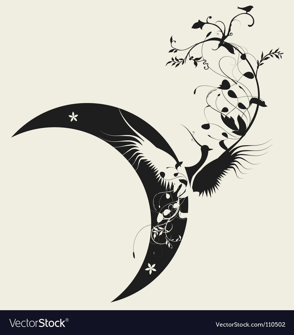 Bird and moon design vector | Price: 1 Credit (USD $1)