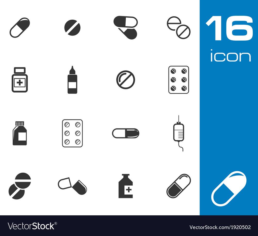 Black pills icon set vector | Price: 1 Credit (USD $1)