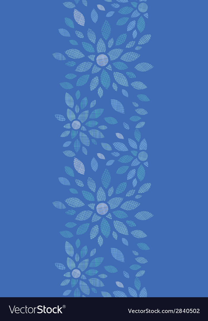 Blue textile peony flowers vertical seamless vector | Price: 1 Credit (USD $1)