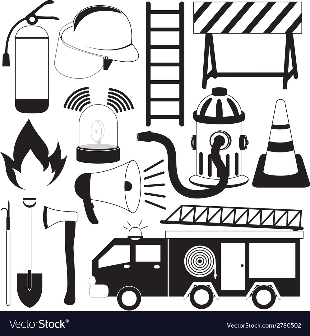 Firefighting tools icon set vector | Price: 1 Credit (USD $1)