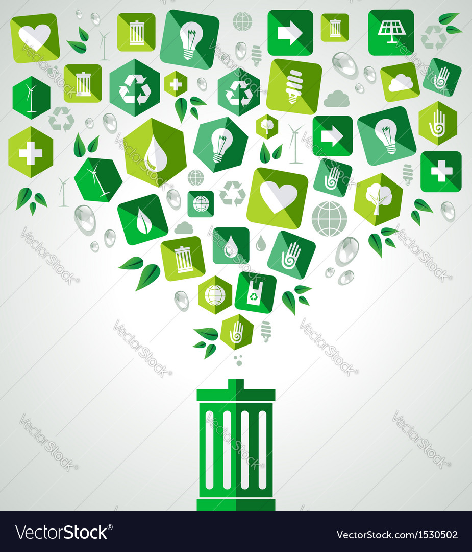 Green splash recycle bin vector | Price: 1 Credit (USD $1)