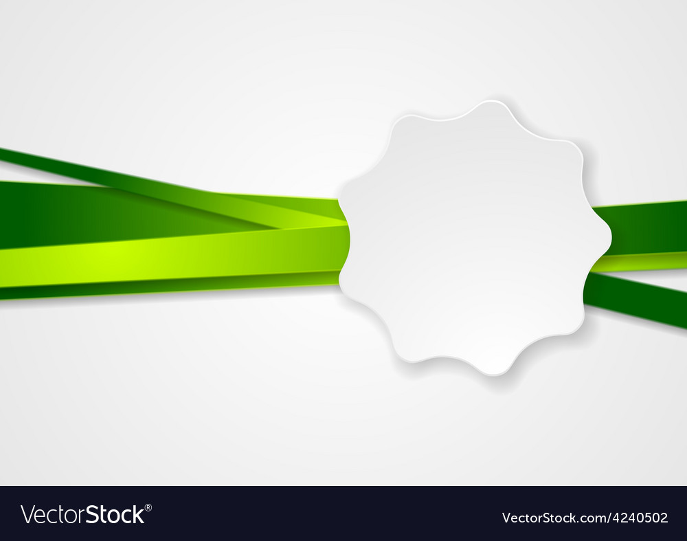 Green stripes and white label sticker vector