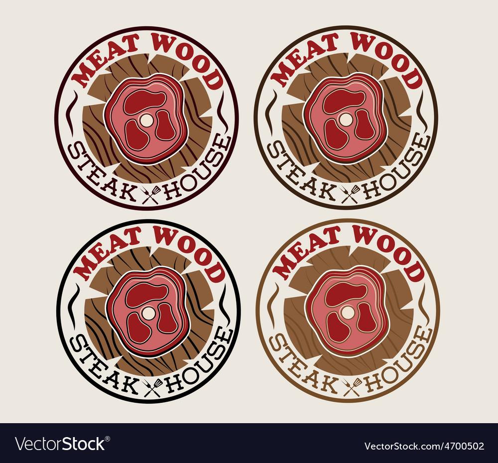 Meat wood emblems set vector | Price: 1 Credit (USD $1)