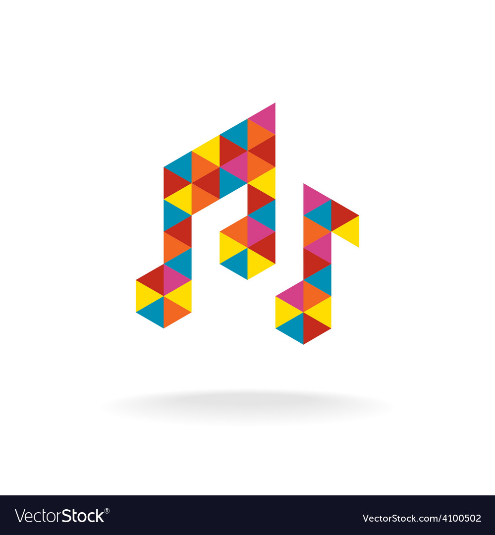 Music notes logo template colorful triangles sign vector