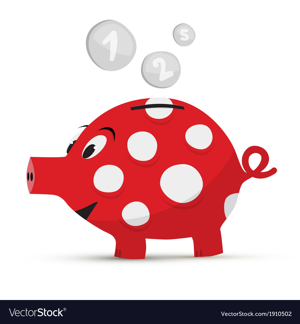 Red piggy bank isolated on white background vector | Price: 1 Credit (USD $1)
