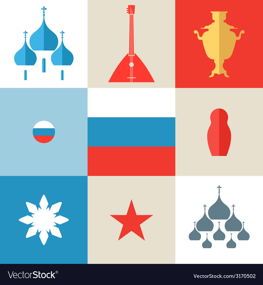 Russia icon set vector | Price: 1 Credit (USD $1)