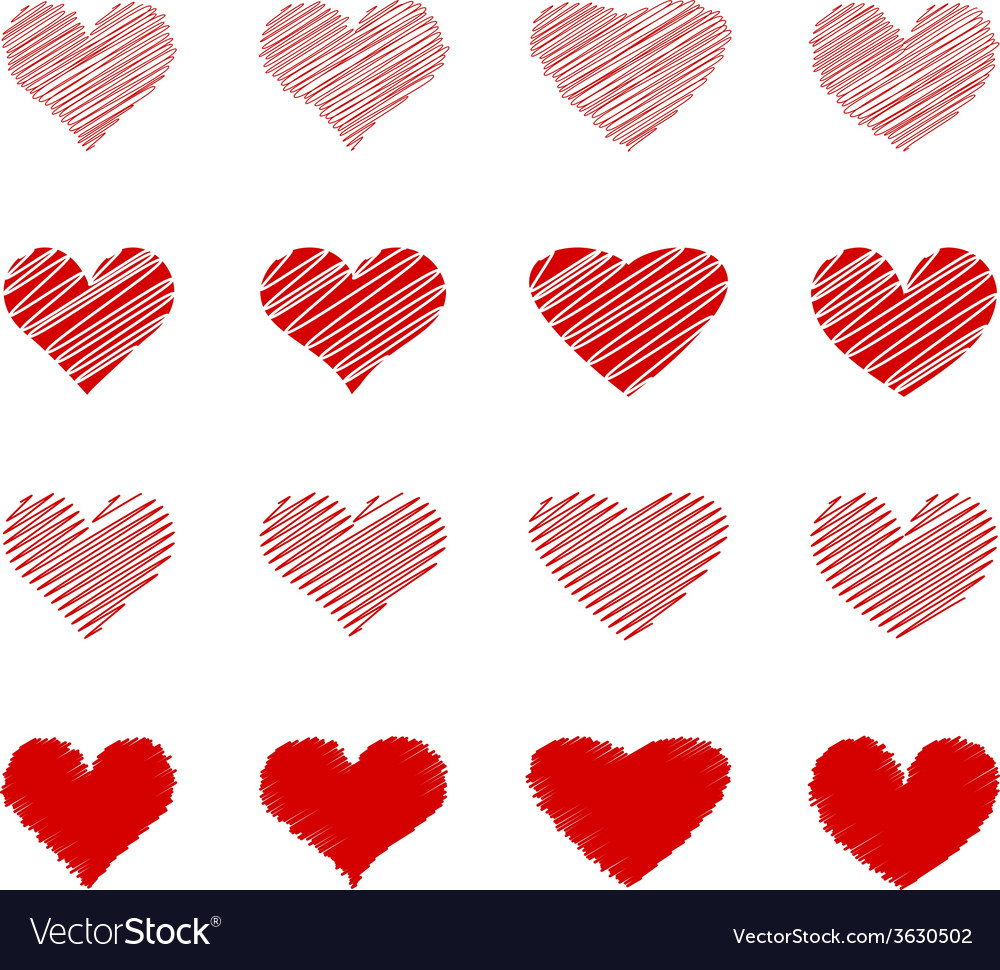 Set of hand drawn lined hearts vector | Price: 1 Credit (USD $1)