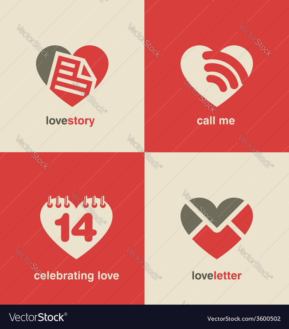 Set of heart shape icons and symbols vector | Price: 1 Credit (USD $1)