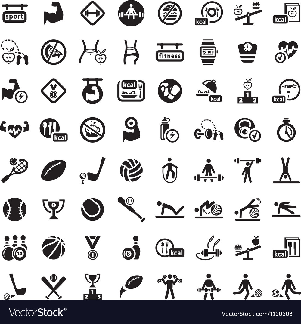 Big fitness icon set vector | Price: 1 Credit (USD $1)