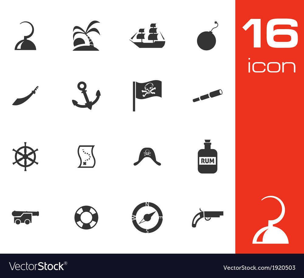 Black pirates icons set vector | Price: 1 Credit (USD $1)
