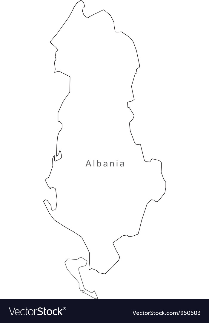 Black white albania outline map vector | Price: 1 Credit (USD $1)