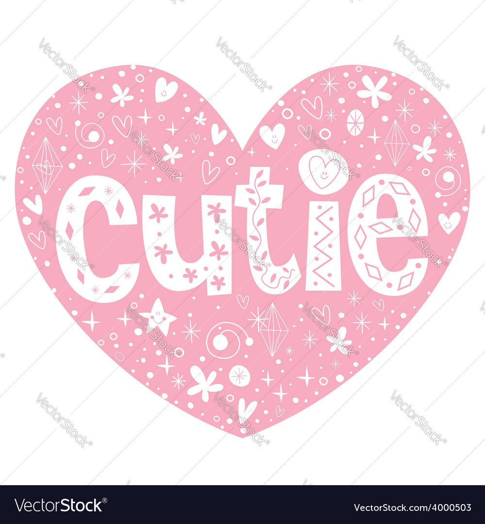 Cutie heart shaped lettering design vector | Price: 1 Credit (USD $1)