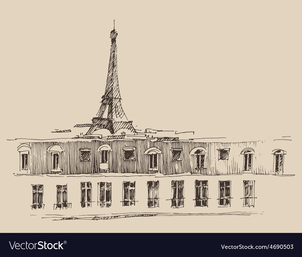 Eiffel tower paris france architecture vintage vector | Price: 1 Credit (USD $1)