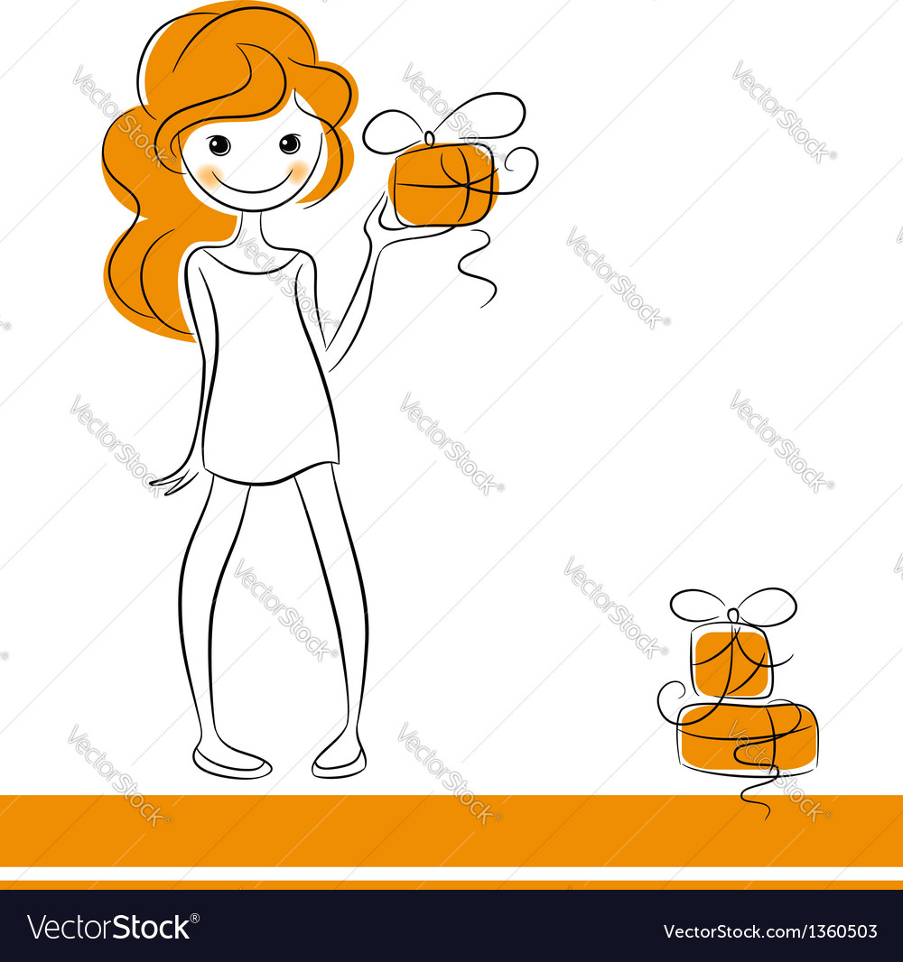 Fashion girl with gifts vector | Price:  Credit (USD $)