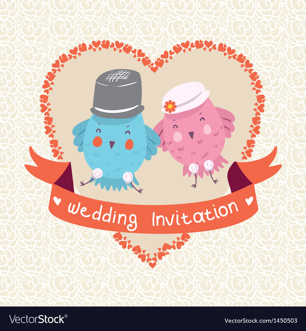 Invitation or wedding card with two bird vector | Price: 1 Credit (USD $1)