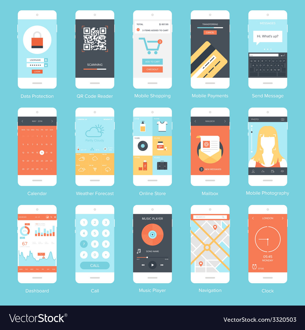 Mobile ui vector | Price: 1 Credit (USD $1)
