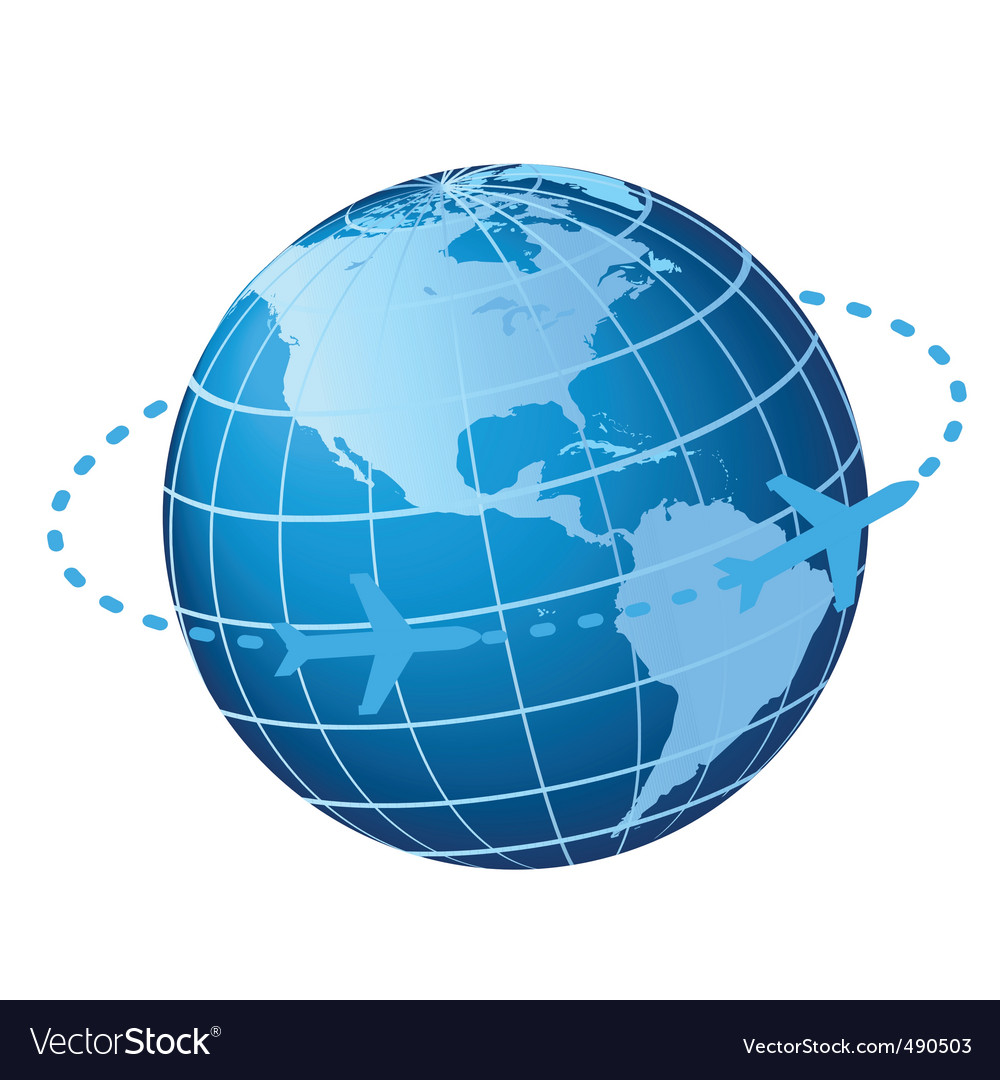 Plane traveling around globe vector | Price: 1 Credit (USD $1)