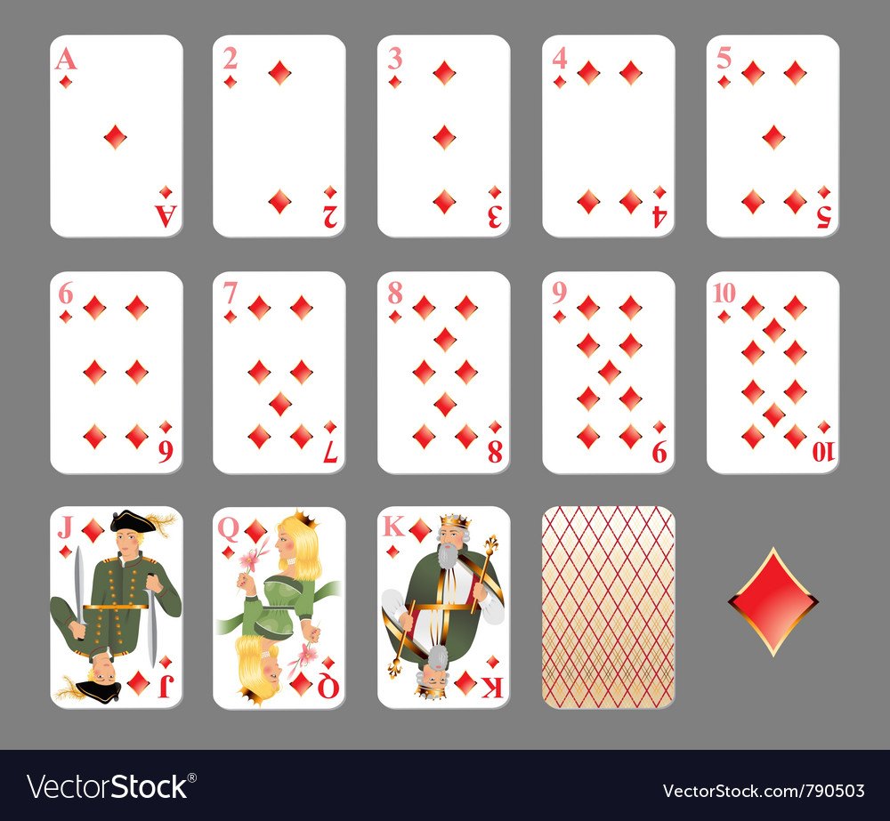 Playing cards diamond suit vector | Price: 3 Credit (USD $3)