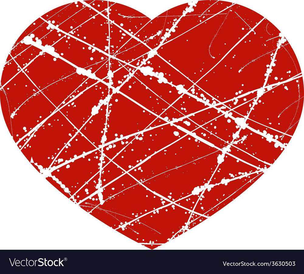 Red grunge heart with lines and splashes vector | Price: 1 Credit (USD $1)
