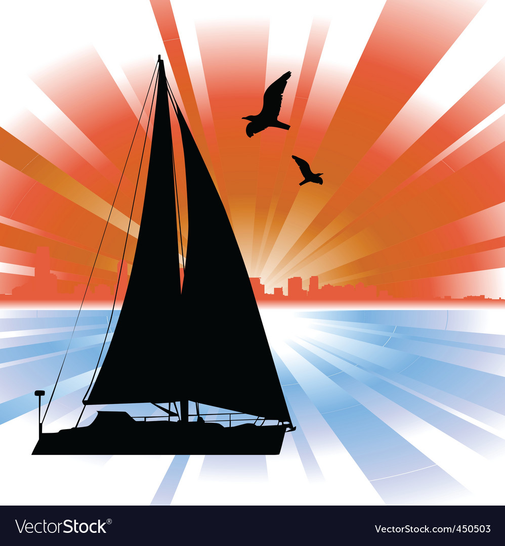 Sailing boat vector | Price: 1 Credit (USD $1)