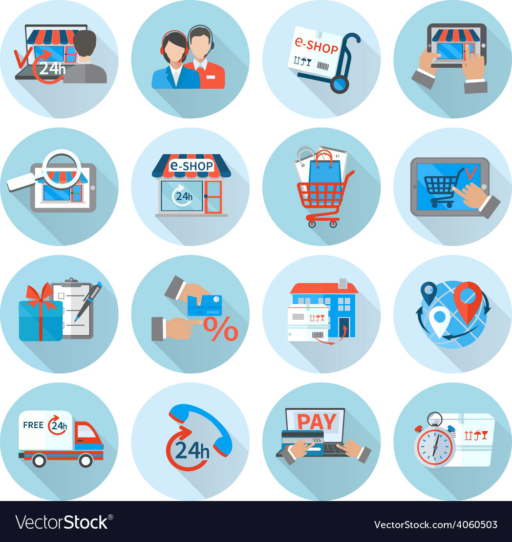 Shopping e-commerce icon flat vector   Price: 1 Credit (USD $1)