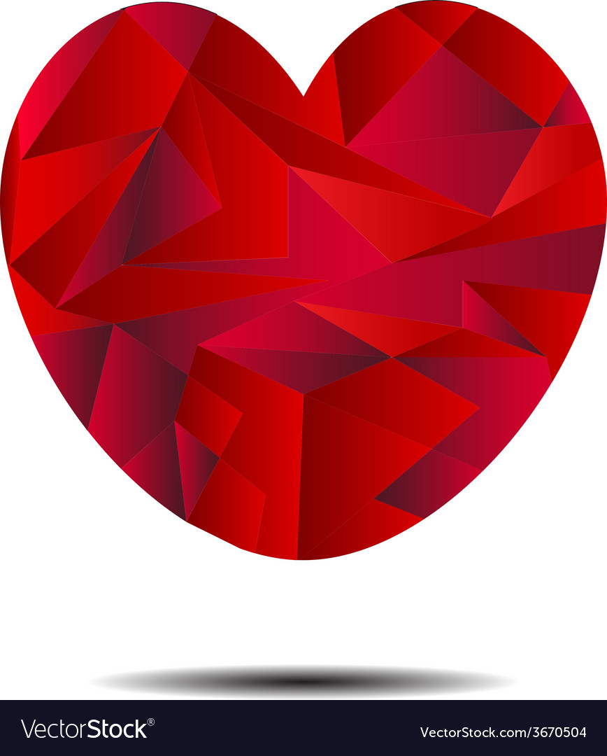 Abstract red heart geometrical vector | Price: 1 Credit (USD $1)