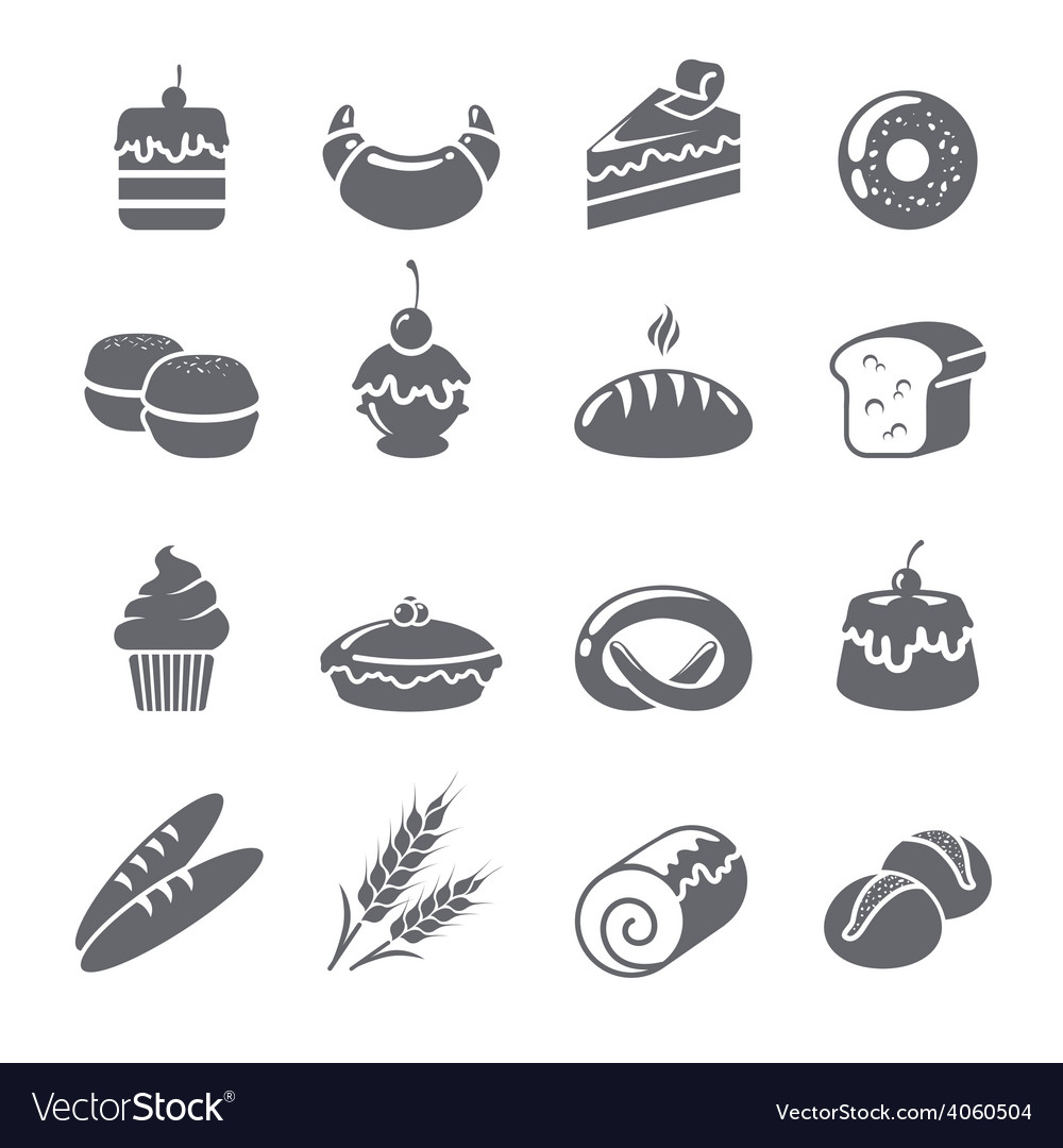 Baking icons black vector | Price: 1 Credit (USD $1)