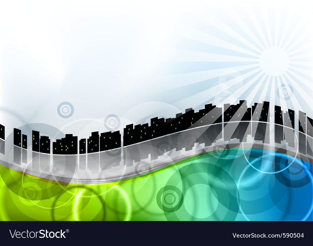 City on the abstract wave vector | Price: 1 Credit (USD $1)