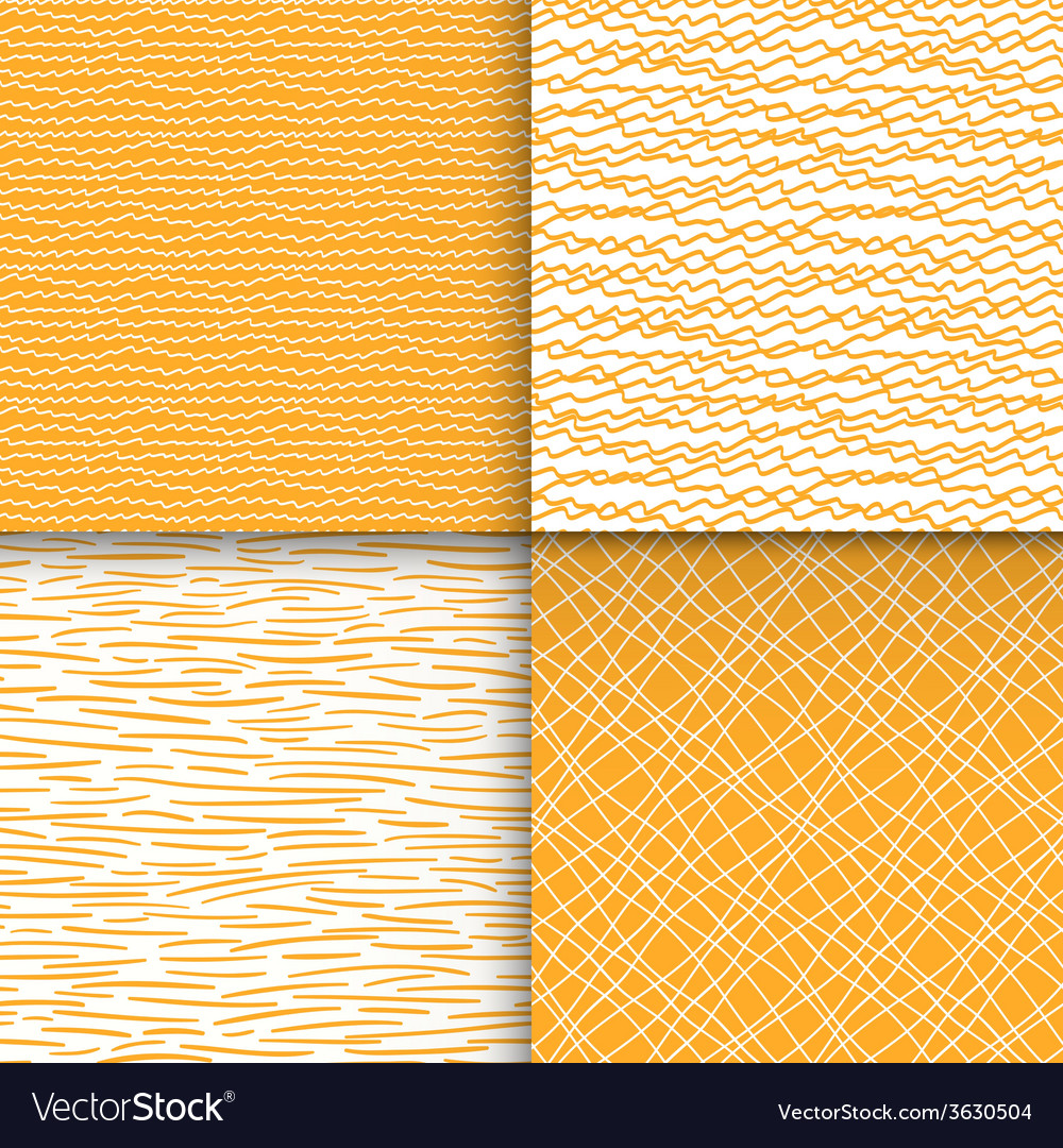 Colorful geometric doodle seamless patterns set vector | Price: 1 Credit (USD $1)