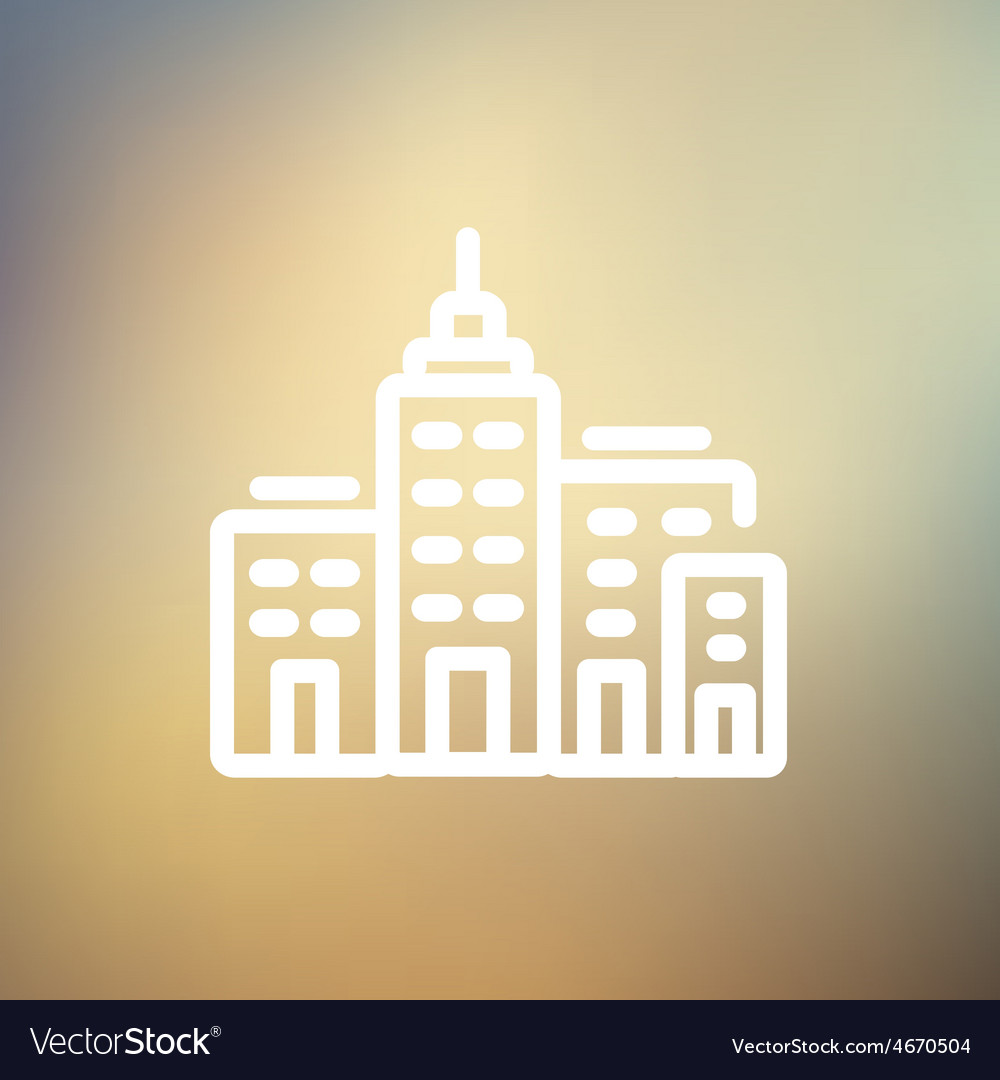 Condominium building thin line icon vector | Price: 1 Credit (USD $1)