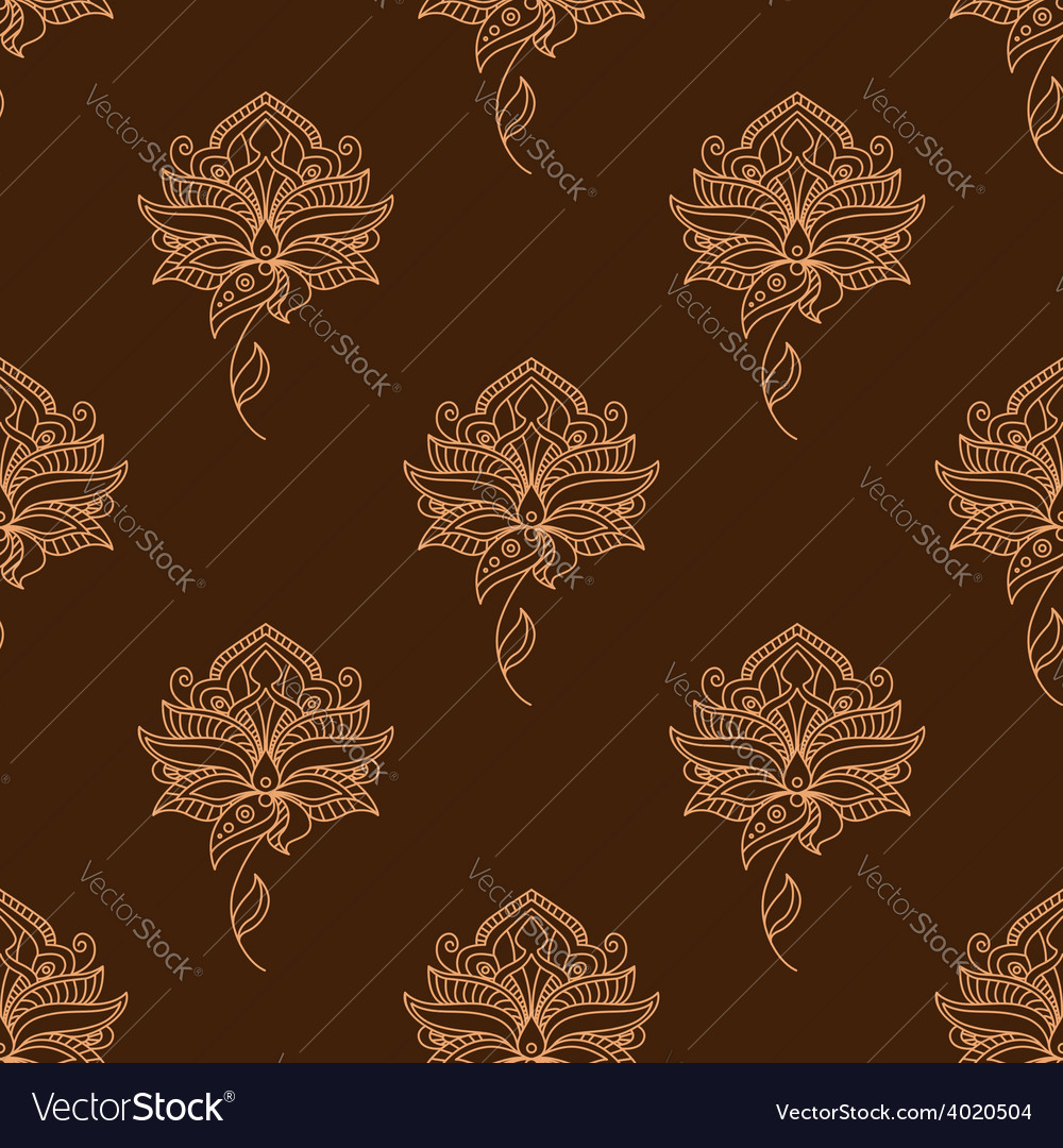 Delicate paisley flowers persian seamless pattern vector | Price: 1 Credit (USD $1)