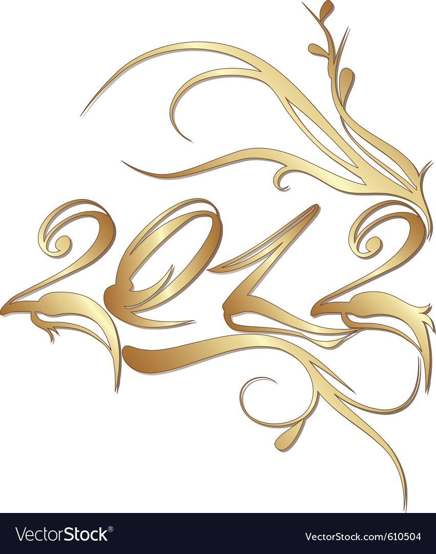 Golden new year 2012 vector | Price: 1 Credit (USD $1)