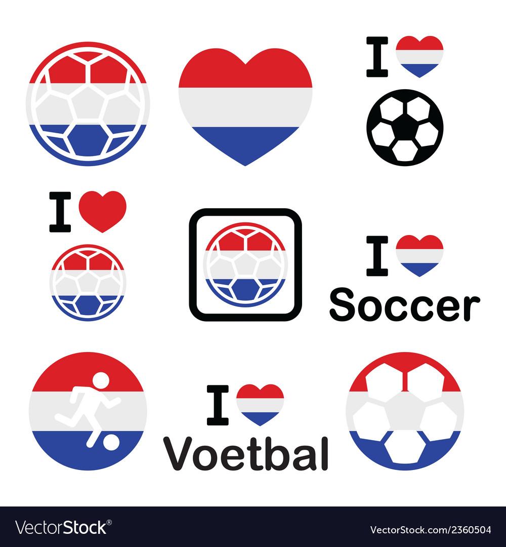 I love dutch football soccer icons set vector | Price: 1 Credit (USD $1)