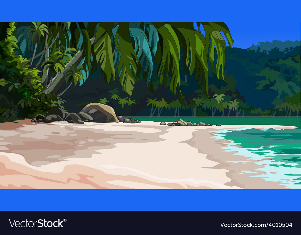Landscape tropical coast vector | Price: 3 Credit (USD $3)