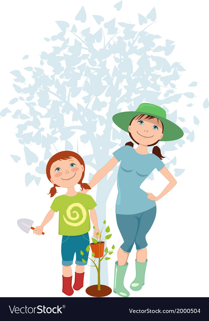 Mother and daughter planting a tree vector | Price: 1 Credit (USD $1)