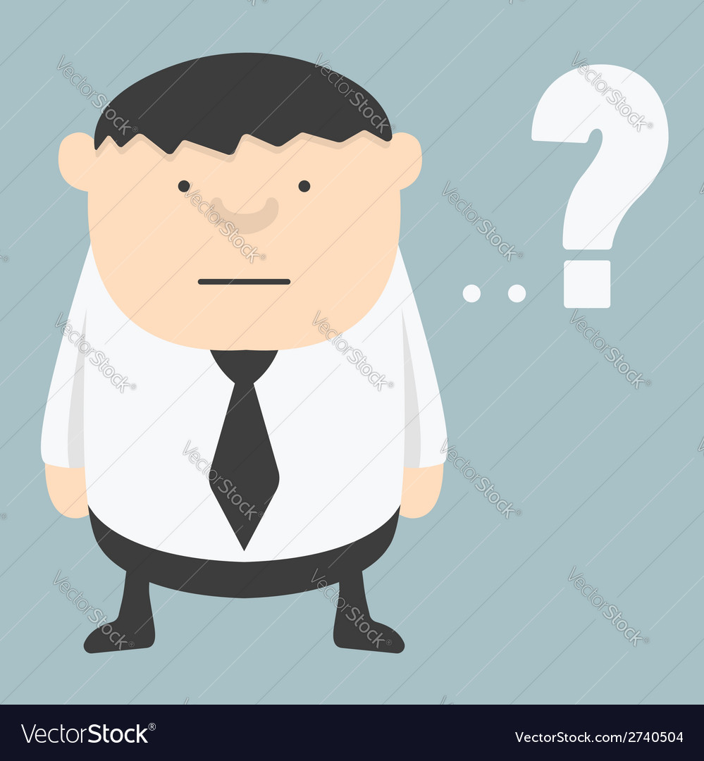 Obese businessman with question mark vector | Price: 1 Credit (USD $1)