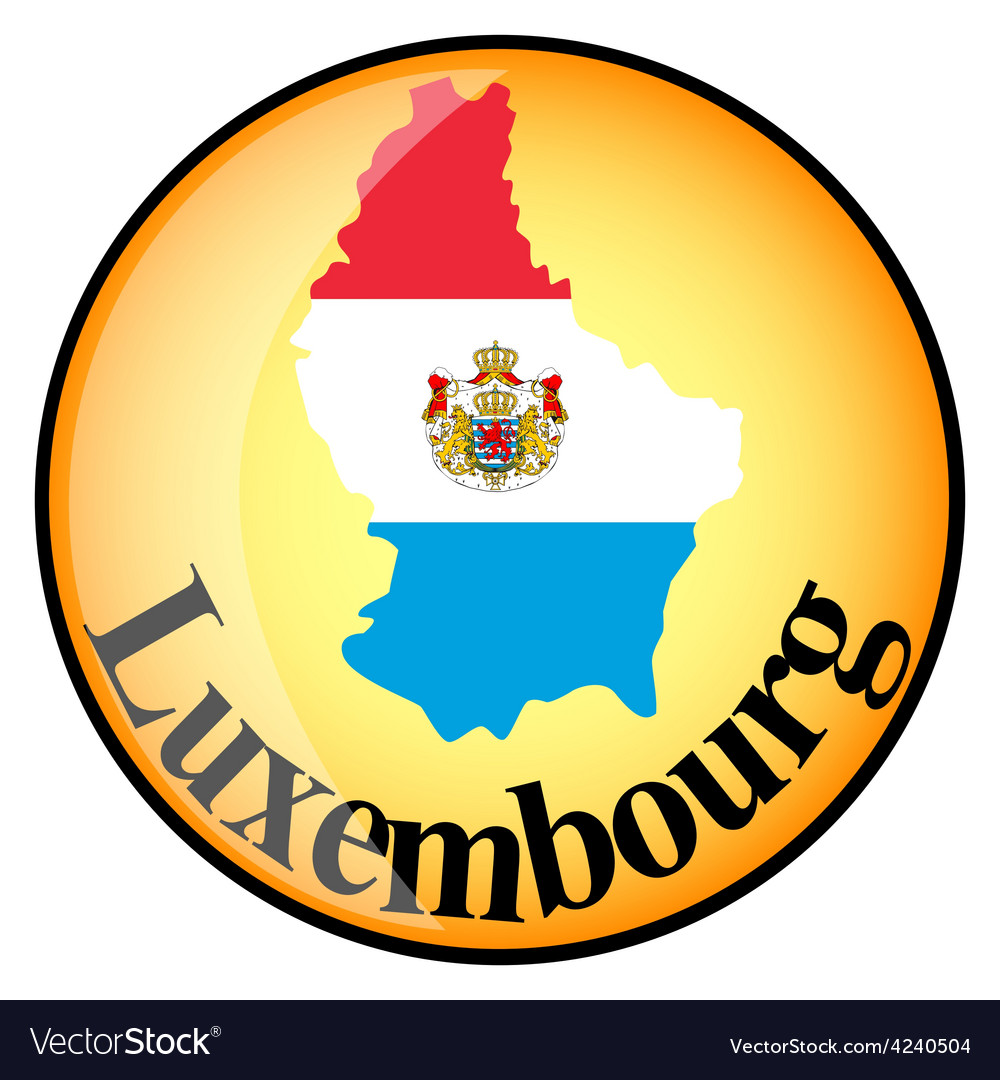 Orange button with the image maps of luxembourg vector | Price: 1 Credit (USD $1)