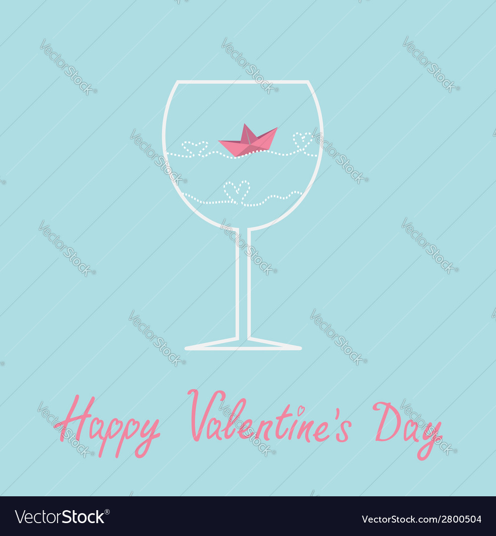 Origami paper boat and heart wave wine glass vector | Price: 1 Credit (USD $1)