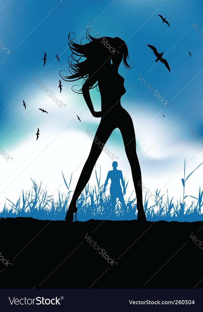 Pretty woman silhouette on nature vector   Price: 1 Credit (USD $1)