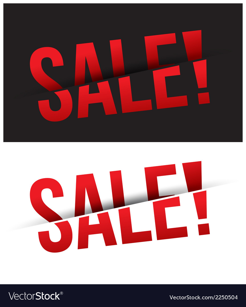 Sale cut on black and white background vector | Price: 1 Credit (USD $1)