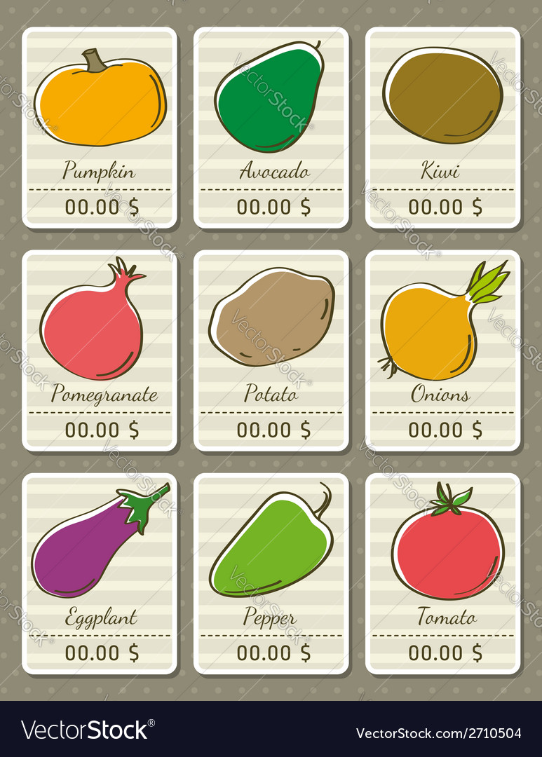 Set of labels with organic vegetables vector | Price: 1 Credit (USD $1)