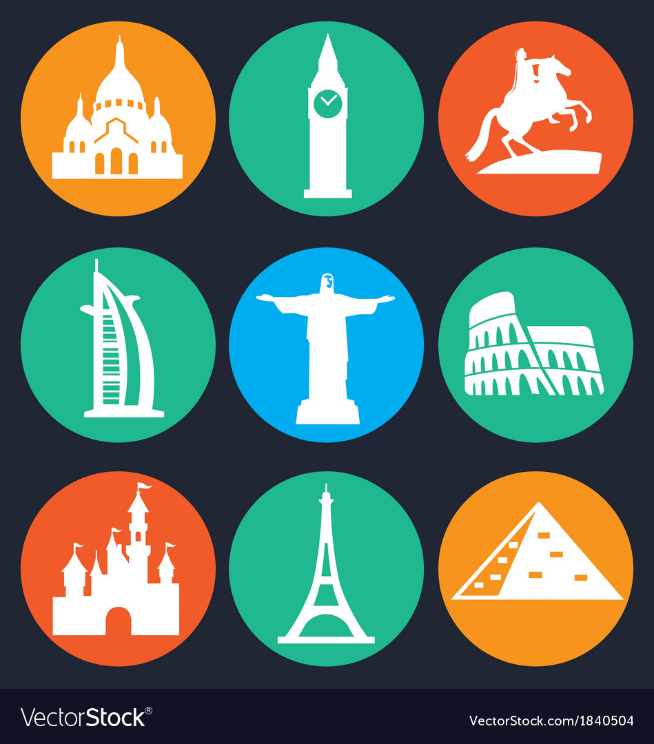 Set of monuments icon  1 vector