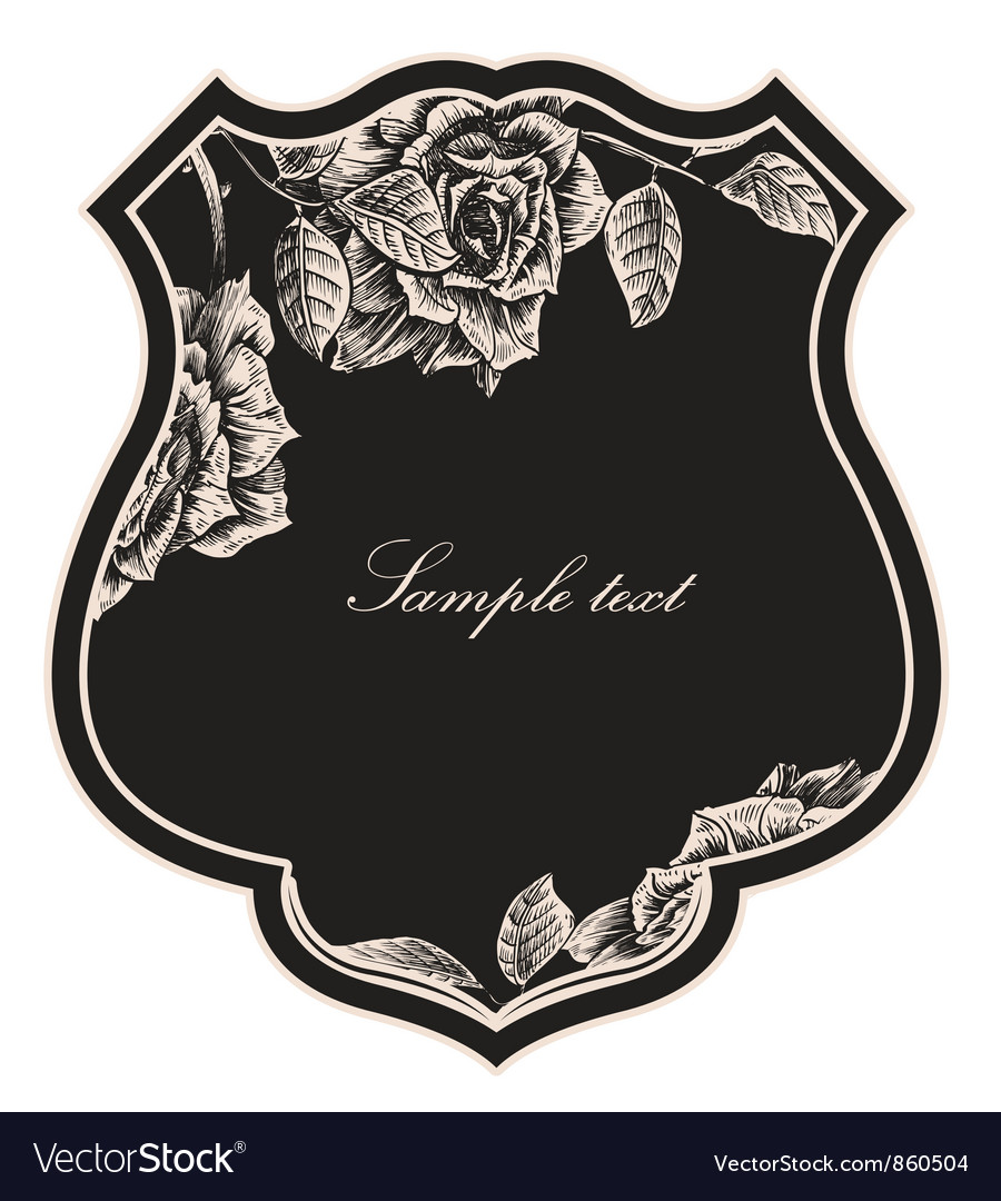 Shield with floral vector | Price: 1 Credit (USD $1)