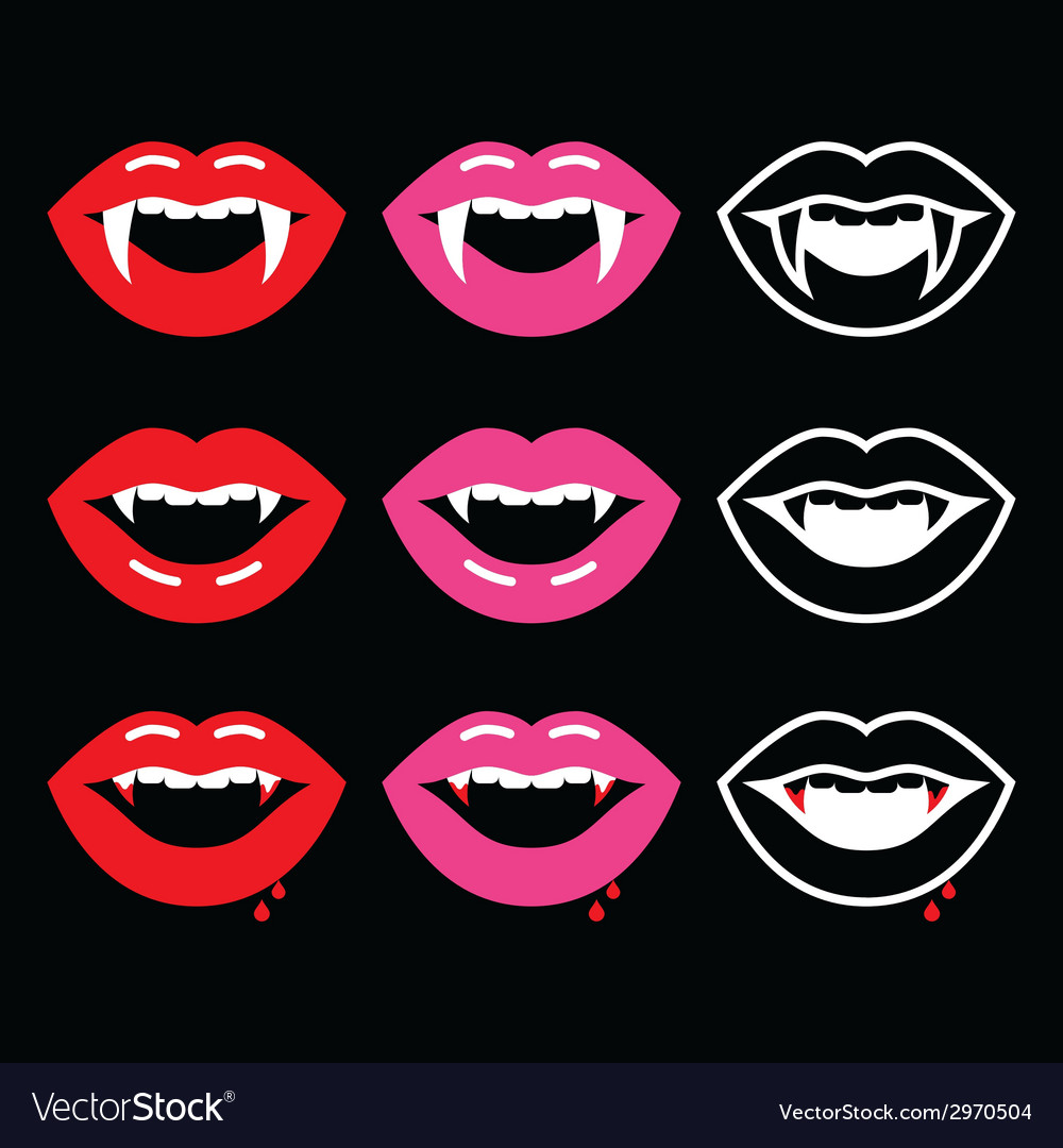 Vampire mouth vampire teeth icons on black vector | Price: 1 Credit (USD $1)