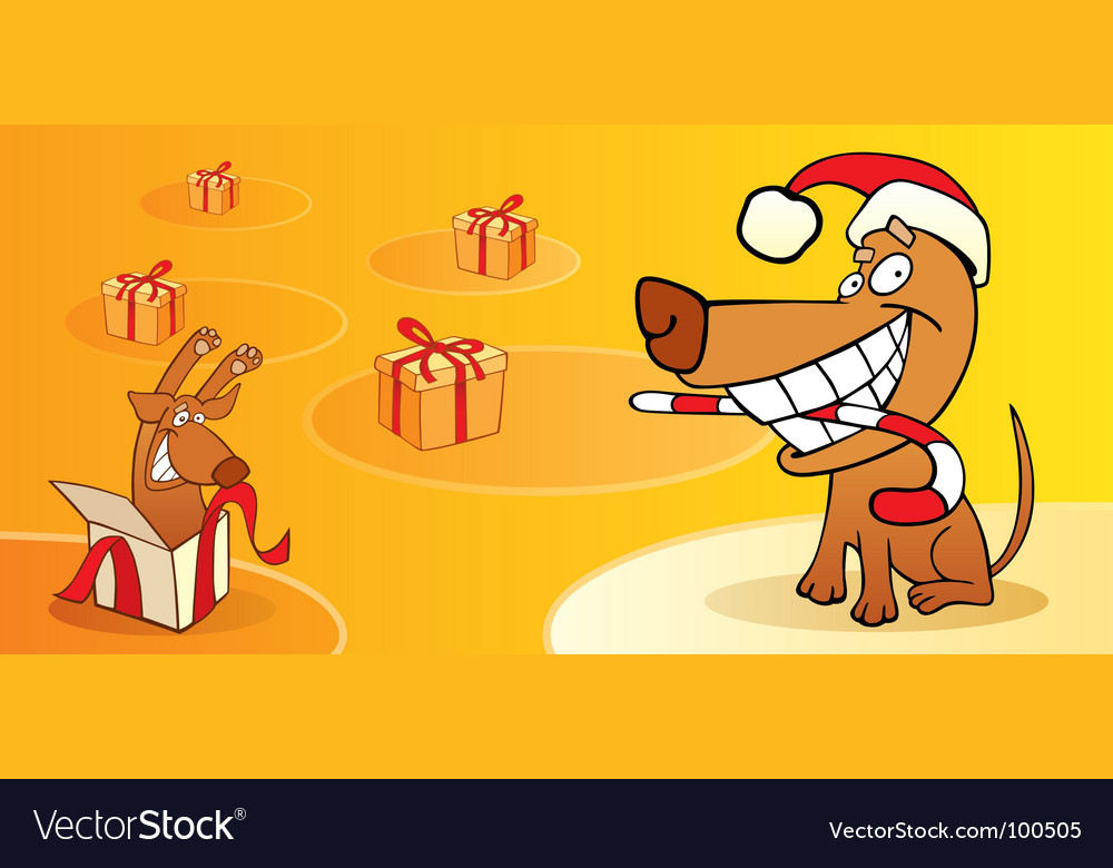 Christmas card with dog vector | Price: 1 Credit (USD $1)