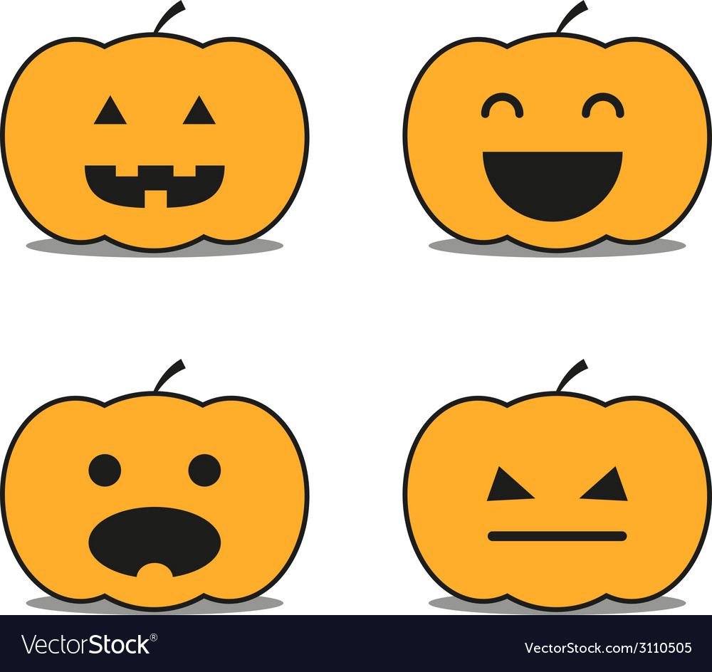 Different helloween pumpkin icons clip-art vector | Price: 1 Credit (USD $1)