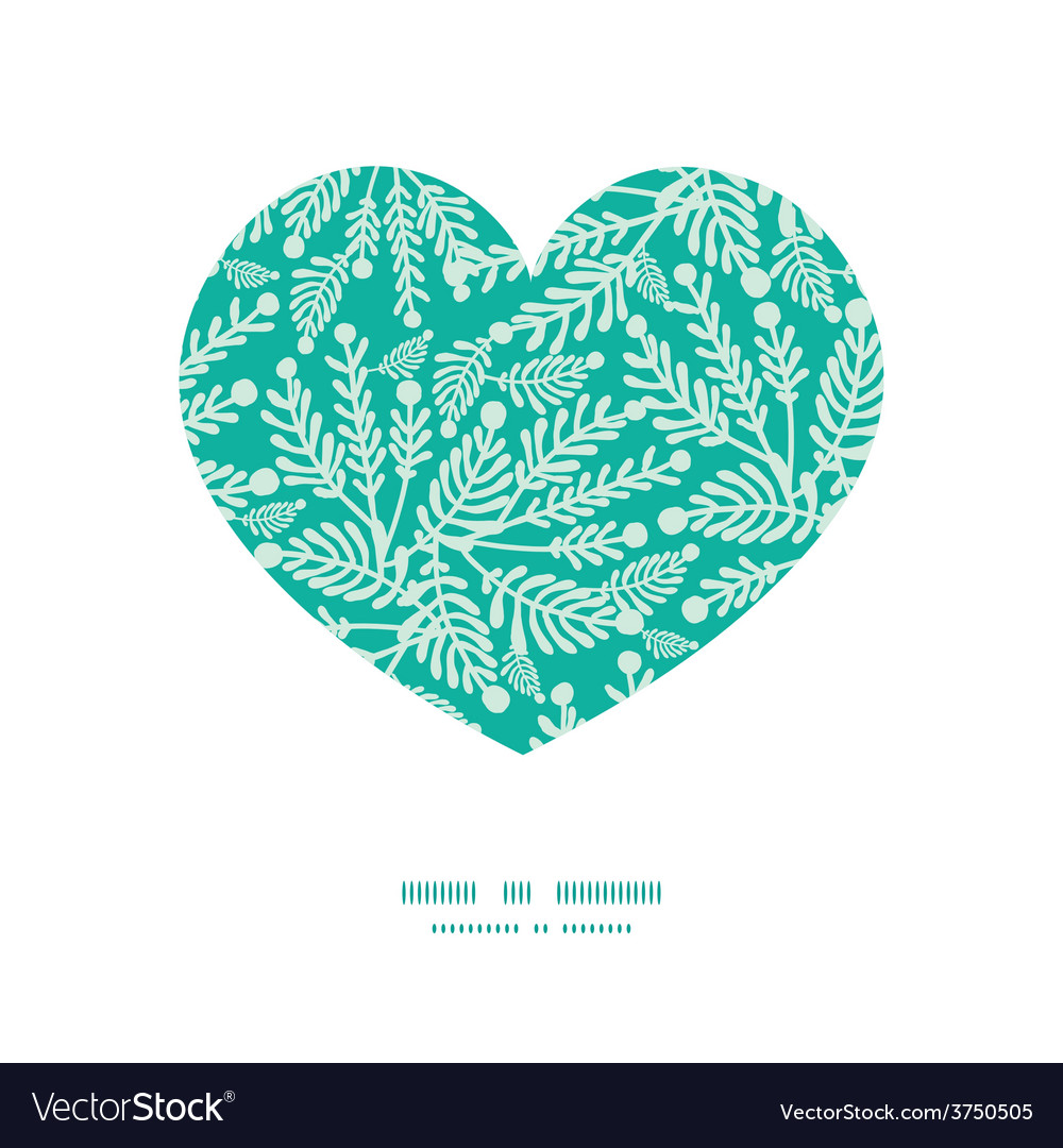 Emerald green plants heart silhouette vector | Price: 1 Credit (USD $1)