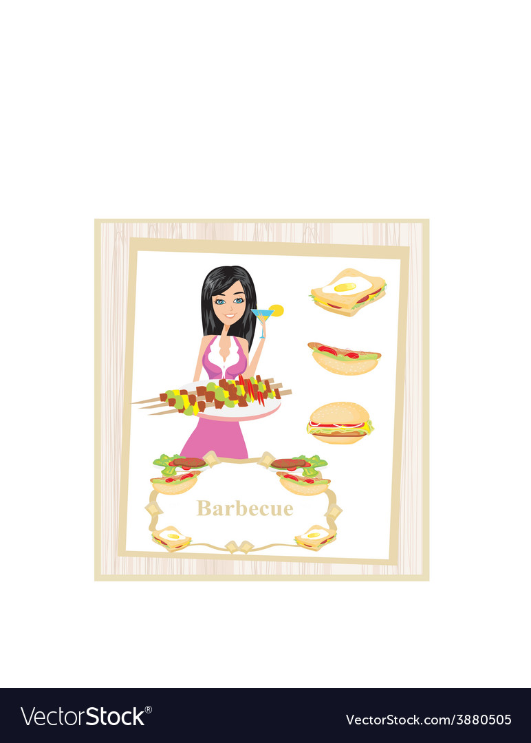 Girl barbecuing meat vector | Price: 1 Credit (USD $1)